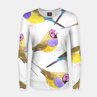 Miniatur Red headed male Gouldian finch or Erythrura gouldiae watercolor birds painting Women sweater, Live Heroes