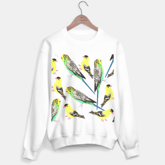 Miniatur Budgies and american goldfinches in watercolor  Sweater regular, Live Heroes