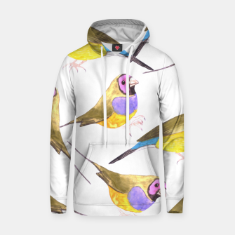 Miniatur Red headed male Gouldian finch or Erythrura gouldiae watercolor birds painting Hoodie, Live Heroes