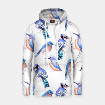 Thumbnail image of Birds kingfisher, bluejay, bluebird in tints and shades of blue Hoodie, Live Heroes