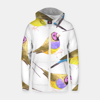 Miniatur Red headed male Gouldian finch or Erythrura gouldiae watercolor birds painting Zip up hoodie, Live Heroes