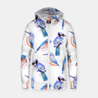 Thumbnail image of Birds kingfisher, bluejay, bluebird in tints and shades of blue Zip up hoodie, Live Heroes