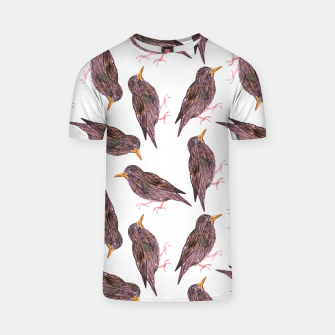 Miniatur Common starling or European starling or Sturnus vulgaris bird watercolor painting T-shirt, Live Heroes