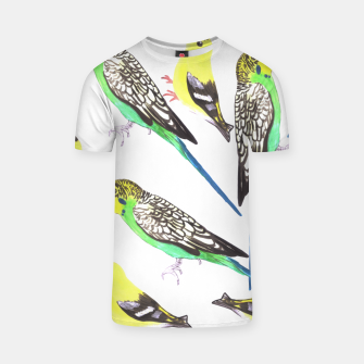 Miniatur Budgies and american goldfinches in watercolor  T-shirt, Live Heroes