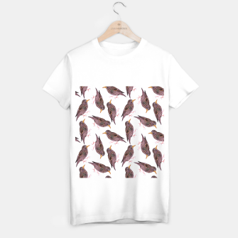 Miniatur Common starling or European starling or Sturnus vulgaris bird watercolor painting T-shirt regular, Live Heroes