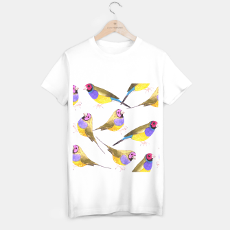 Miniatur Red headed male Gouldian finch or Erythrura gouldiae watercolor birds painting T-shirt regular, Live Heroes