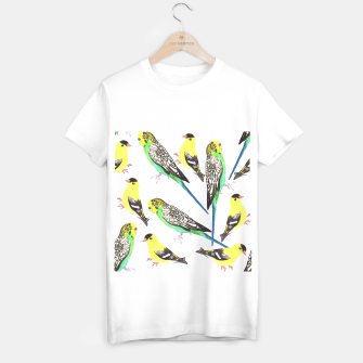 Miniatur Budgies and american goldfinches in watercolor  T-shirt regular, Live Heroes