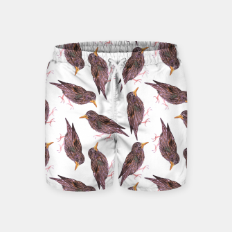 Miniatur Common starling or European starling or Sturnus vulgaris bird watercolor painting Swim Shorts, Live Heroes
