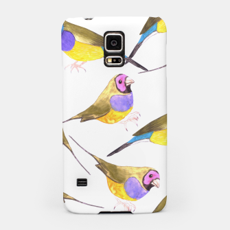 Miniatur Red headed male Gouldian finch or Erythrura gouldiae watercolor birds painting Samsung Case, Live Heroes