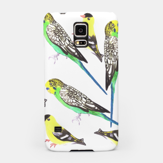 Miniatur Budgies and american goldfinches in watercolor  Samsung Case, Live Heroes
