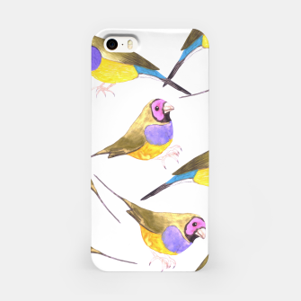 Miniatur Red headed male Gouldian finch or Erythrura gouldiae watercolor birds painting iPhone Case, Live Heroes