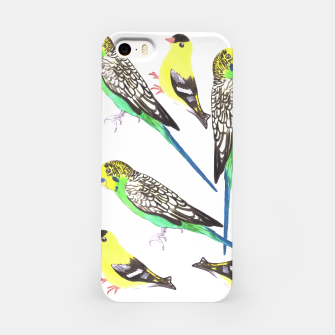 Miniatur Budgies and american goldfinches in watercolor  iPhone Case, Live Heroes