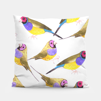 Miniatur Red headed male Gouldian finch or Erythrura gouldiae watercolor birds painting Pillow, Live Heroes