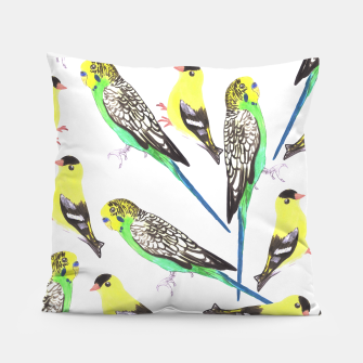 Miniatur Budgies and american goldfinches in watercolor  Pillow, Live Heroes