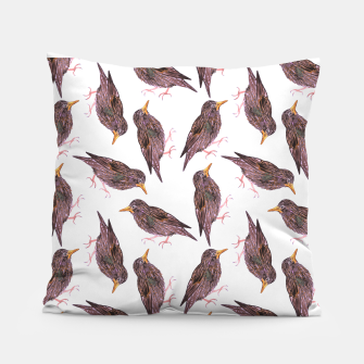 Miniatur Common starling or European starling or Sturnus vulgaris bird watercolor painting Pillow, Live Heroes