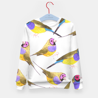 Miniatur Red headed male Gouldian finch or Erythrura gouldiae watercolor birds painting Kid's sweater, Live Heroes