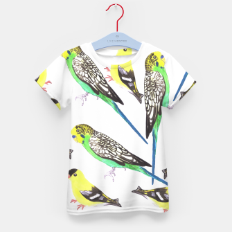 Miniatur Budgies and american goldfinches in watercolor  Kid's t-shirt, Live Heroes