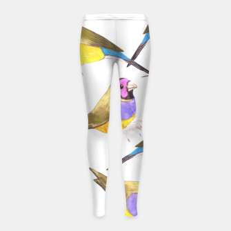 Miniatur Red headed male Gouldian finch or Erythrura gouldiae watercolor birds painting Girl's leggings, Live Heroes