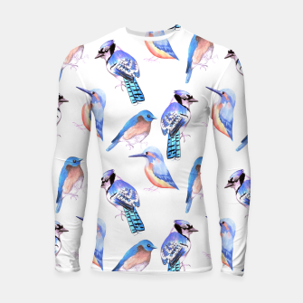 Thumbnail image of Birds kingfisher, bluejay, bluebird in tints and shades of blue Longsleeve rashguard , Live Heroes