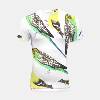 Miniatur Budgies and american goldfinches in watercolor  Shortsleeve rashguard, Live Heroes