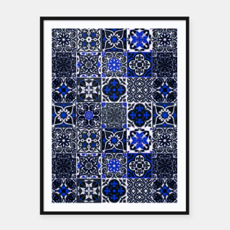 Thumbnail image of Geometric Moroccan Traditional Oriental Tiles Style  Framed poster, Live Heroes
