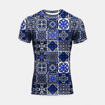Thumbnail image of Geometric Moroccan Traditional Oriental Tiles Style  Shortsleeve rashguard, Live Heroes