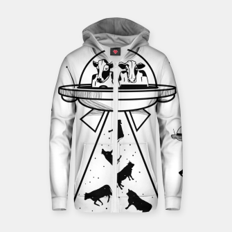 Alien cow abduction  Zip up hoodie Bild der Miniatur