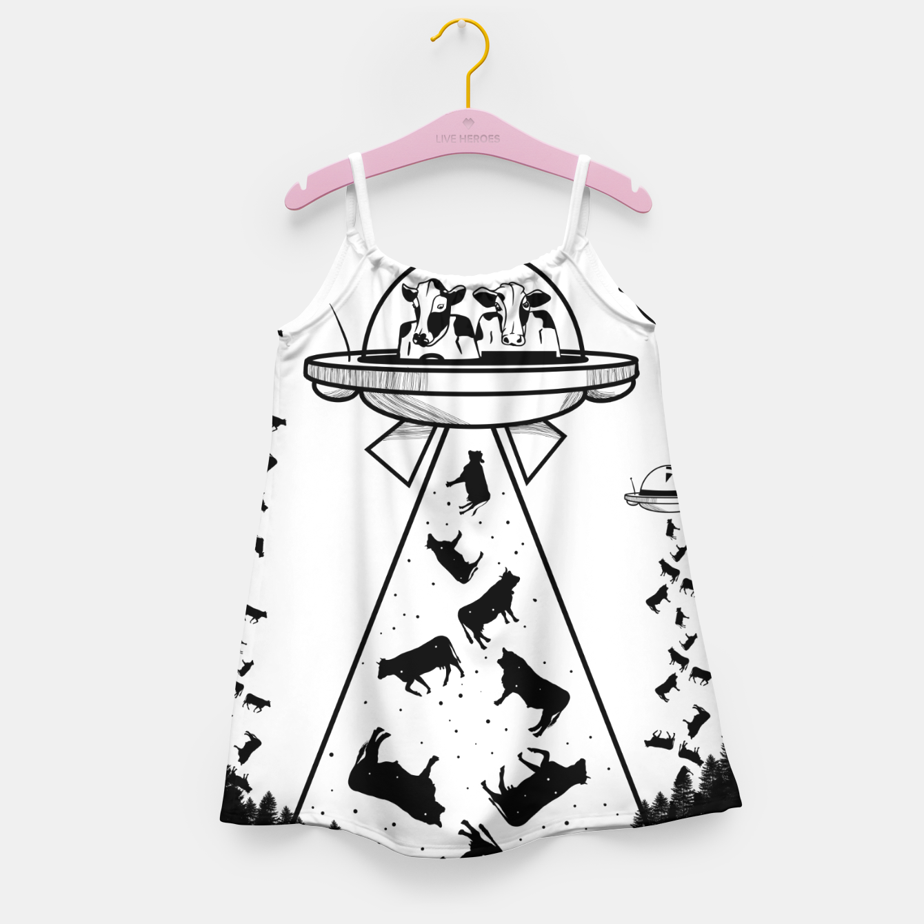 Image of Alien cow abduction  Girl's dress - Live Heroes