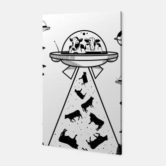 Alien cow abduction  Canvas Bild der Miniatur