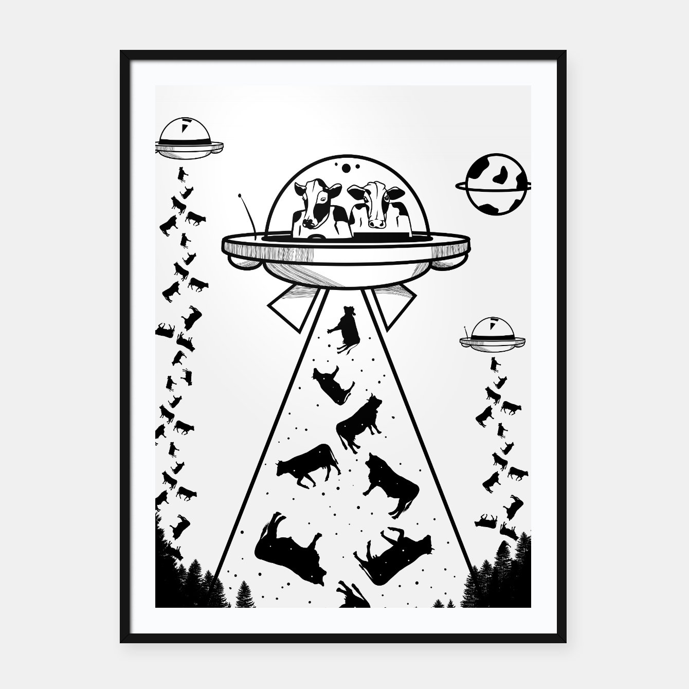 Image of Alien cow abduction  Framed poster - Live Heroes