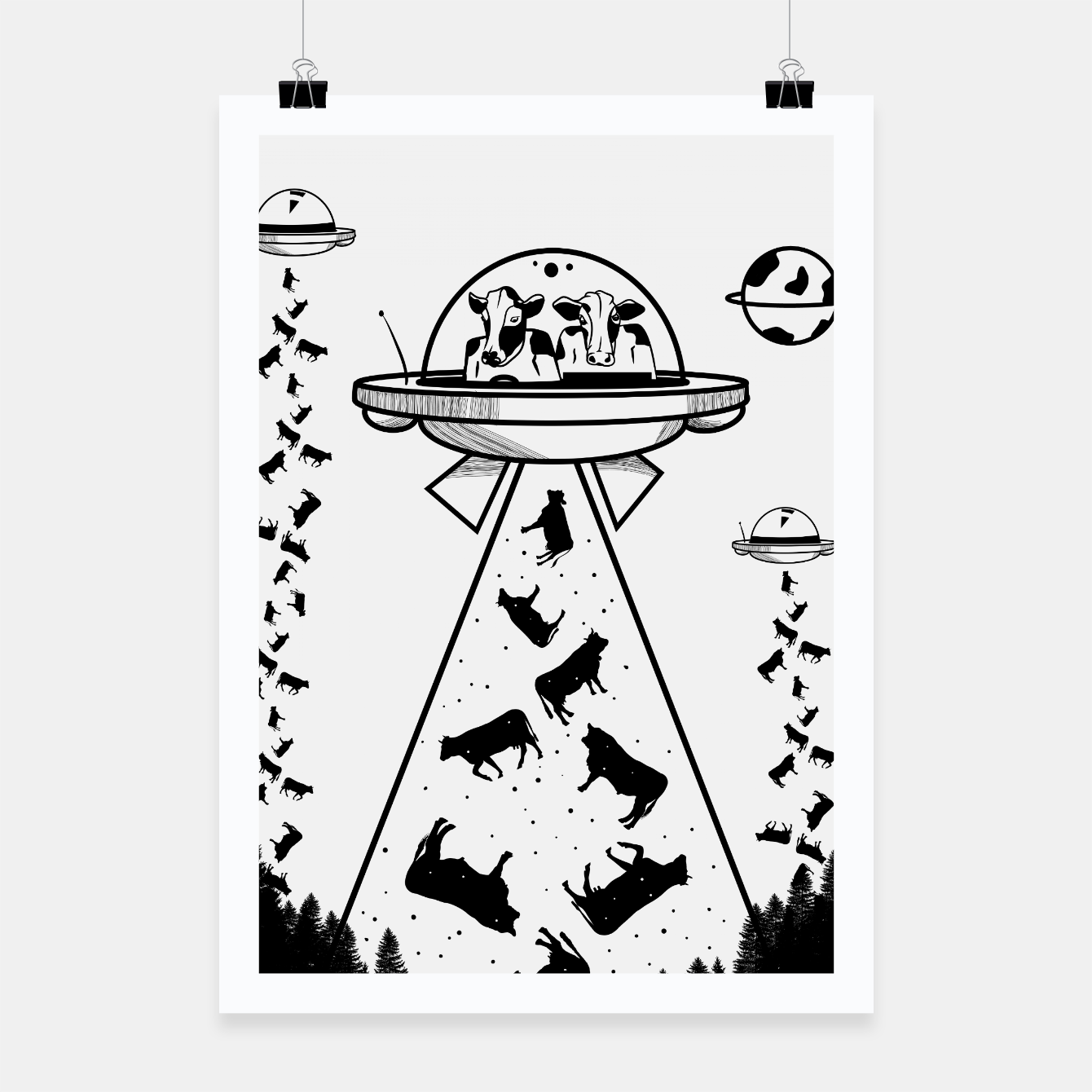 Image of Alien cow abduction  Poster - Live Heroes