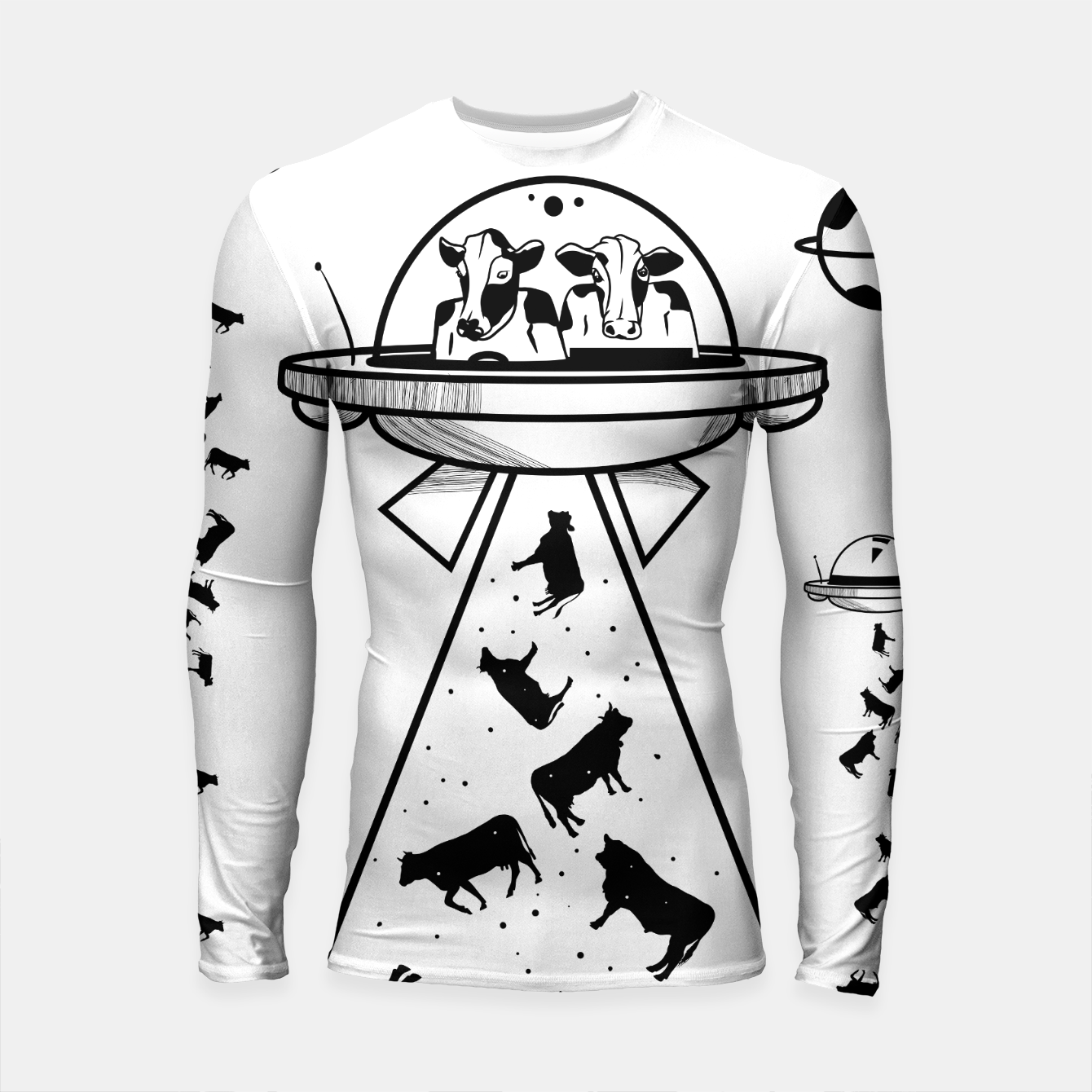 Image of Alien cow abduction  Longsleeve rashguard  - Live Heroes
