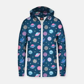 Thumbnail image of Universe & Planets Pattern Zip up hoodie, Live Heroes
