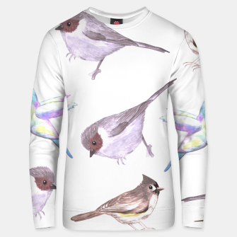 Miniatur American bushtits, hummingbirds and tufted titmouse watercolor  Unisex sweater, Live Heroes