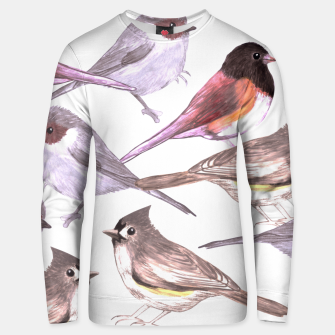 Miniatur Wild titmouses bushtits and juncos in watercolor Unisex sweater, Live Heroes