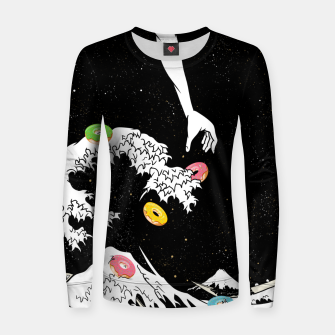Thumbnail image of The great wave of doughnuts Women sweater, Live Heroes