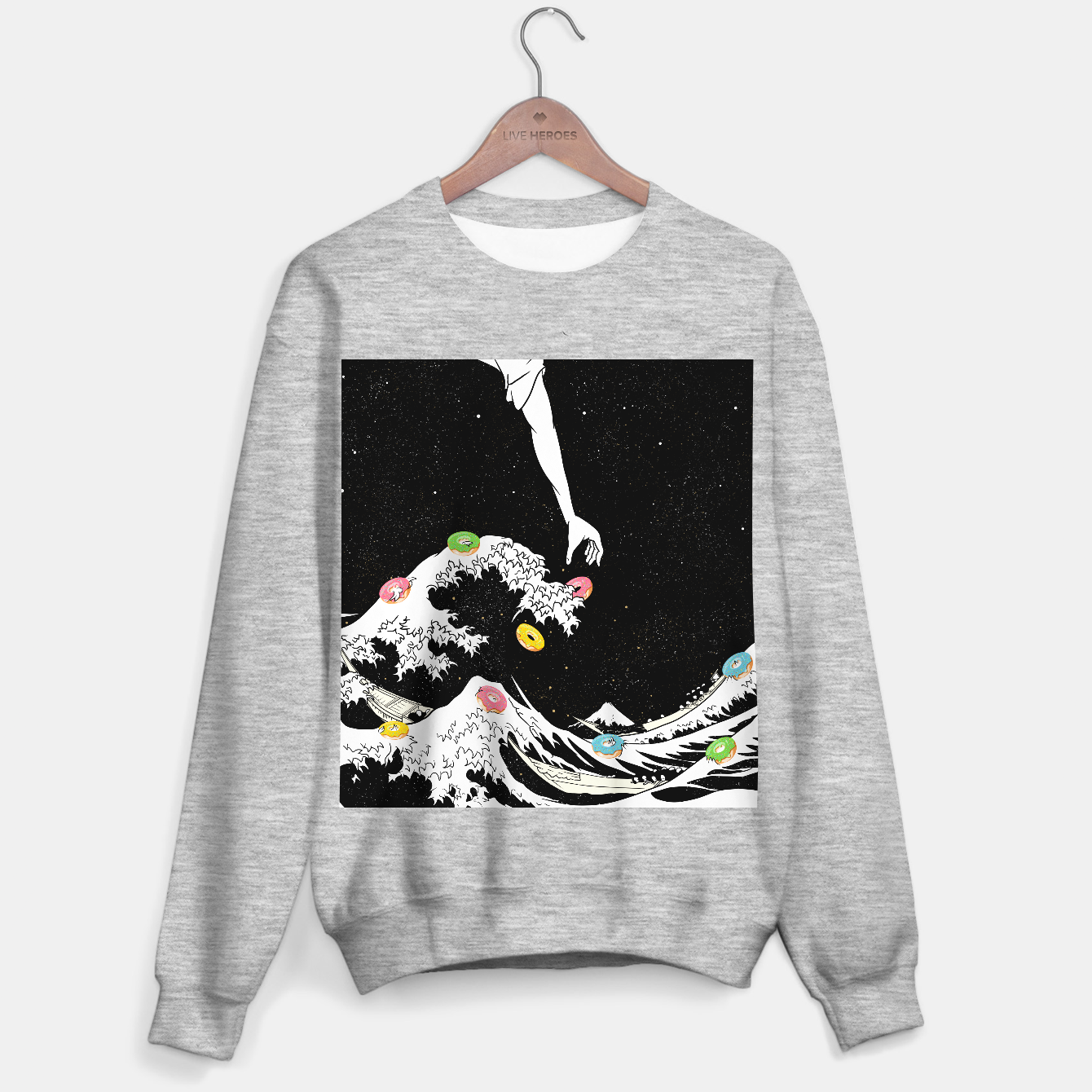 Image of The great wave of doughnuts Sweater regular - Live Heroes