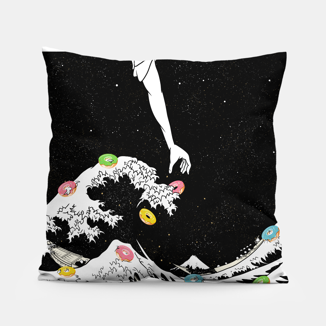 Image of The great wave of doughnuts Pillow - Live Heroes