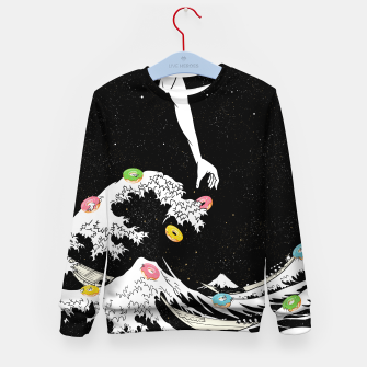 Thumbnail image of The great wave of doughnuts Kid's sweater, Live Heroes