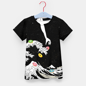 Thumbnail image of The great wave of doughnuts Kid's t-shirt, Live Heroes