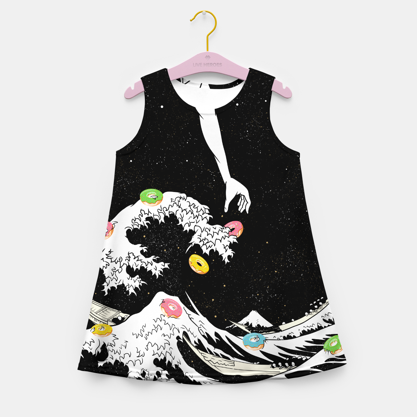 Image of The great wave of doughnuts Girl's summer dress - Live Heroes