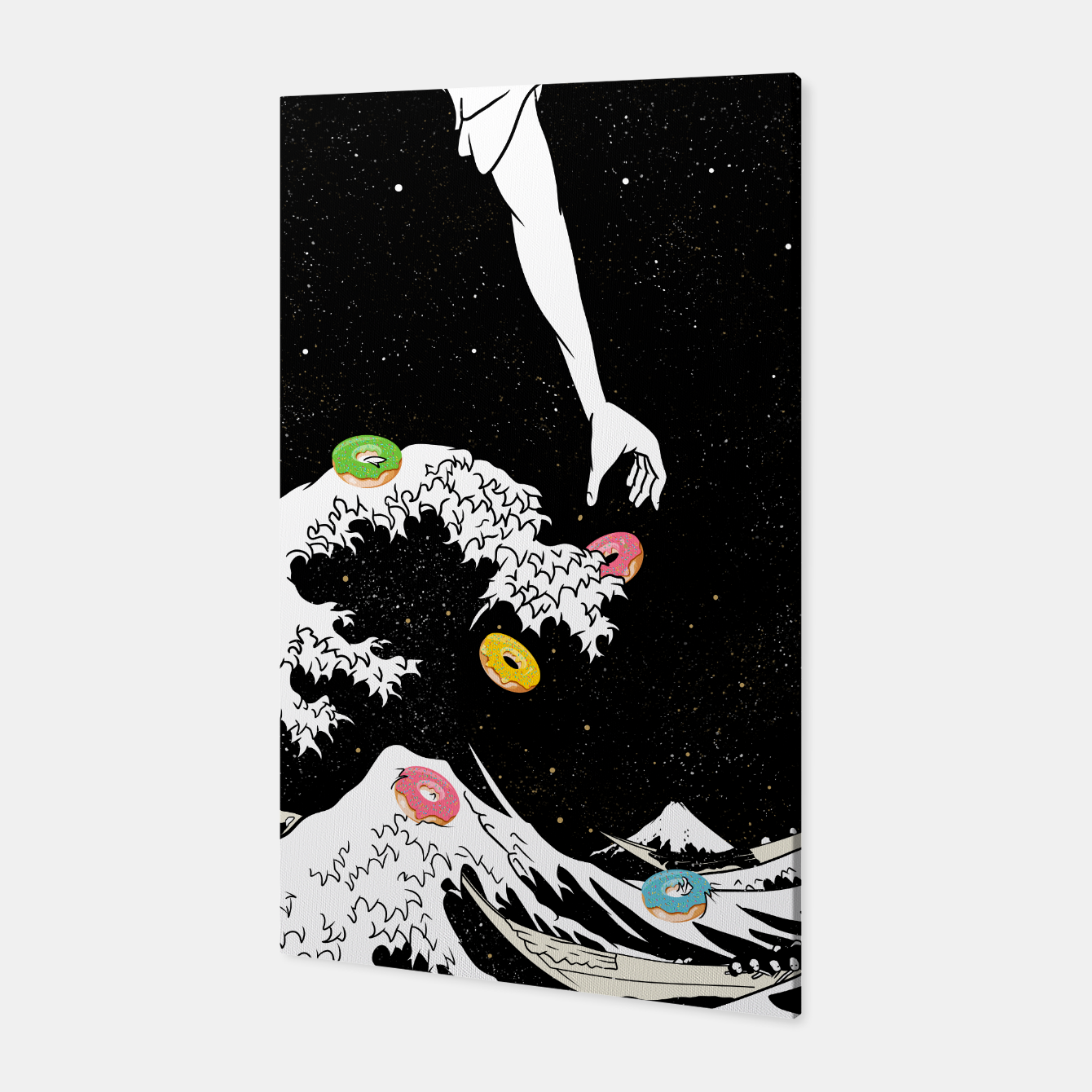 Image of The great wave of doughnuts Canvas - Live Heroes