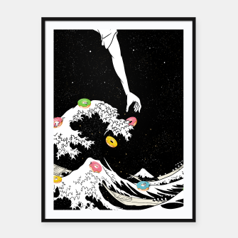 Thumbnail image of The great wave of doughnuts Framed poster, Live Heroes