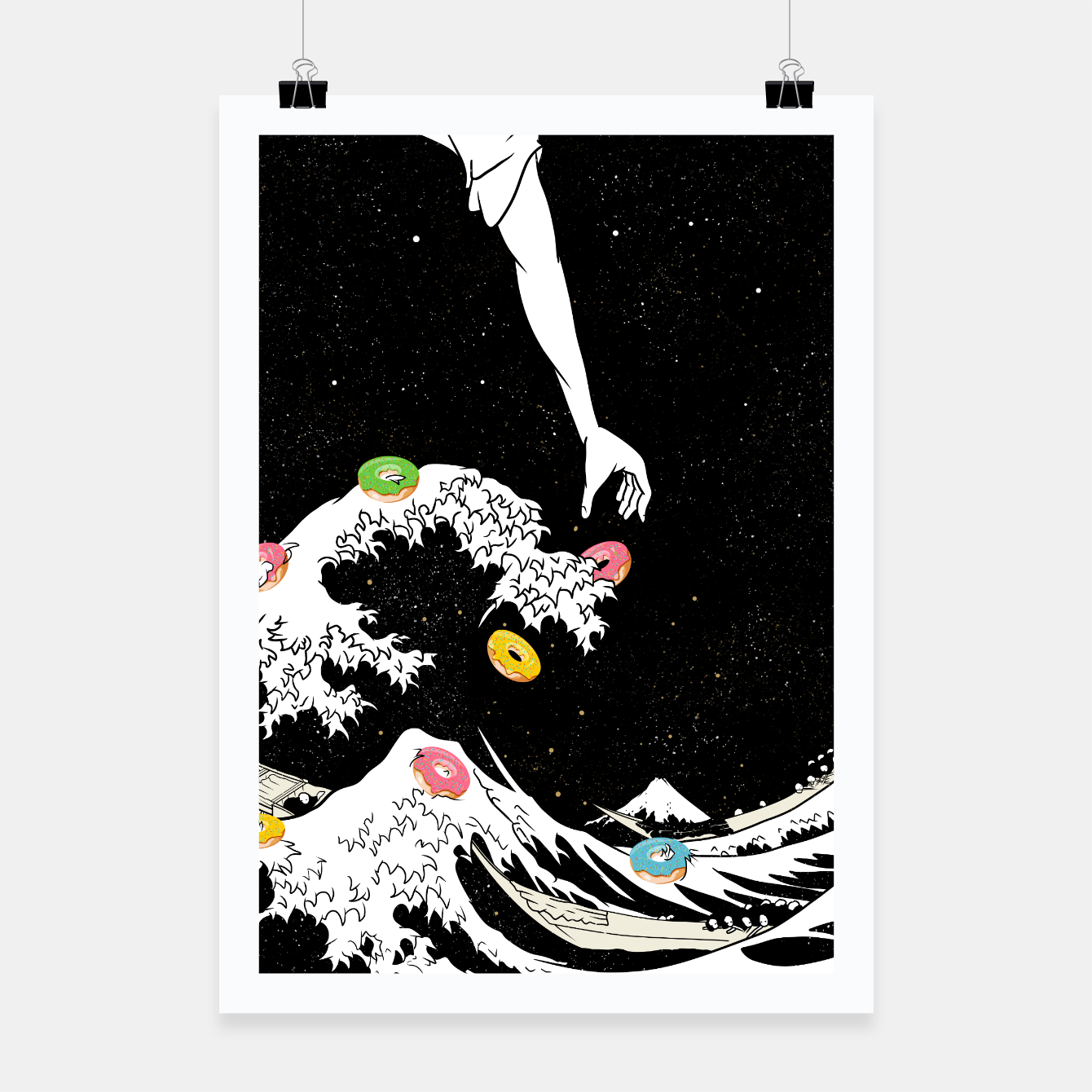 Image of The great wave of doughnuts Poster - Live Heroes
