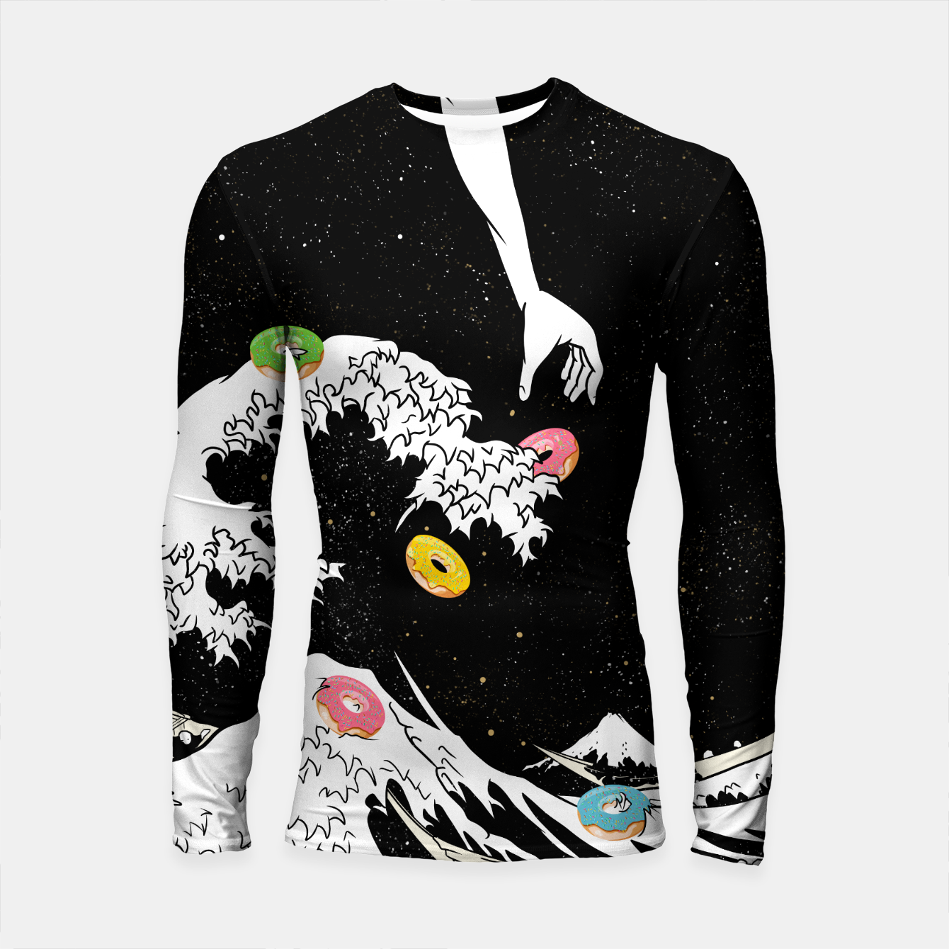 Image of The great wave of doughnuts Longsleeve rashguard  - Live Heroes