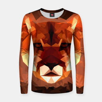 Cougar head, wild animal poly print  Women sweater miniature