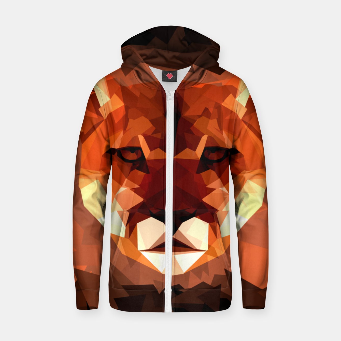 Image de Cougar head, wild animal poly print  Zip up hoodie - Live Heroes