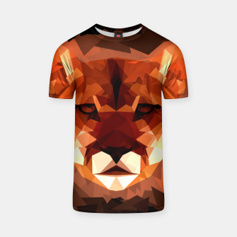 Cougar head, wild animal poly print  T-shirt miniature