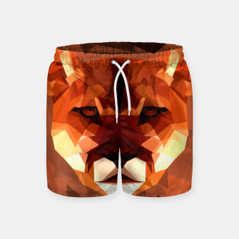 Cougar head, wild animal poly print  Swim Shorts miniature