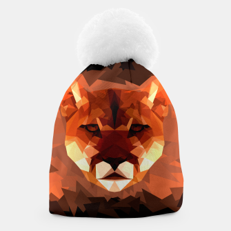 Cougar head, wild animal poly print  Beanie miniature